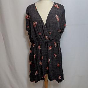 Torrid Black Floral Print Rayon Dress Size 0